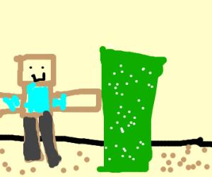 man punches cactus