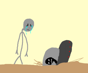 Sad alien morns the dead