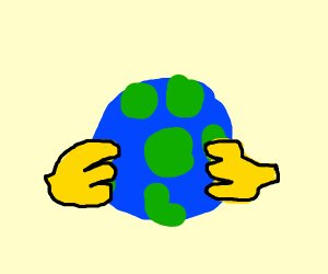 yellow hands holding earth