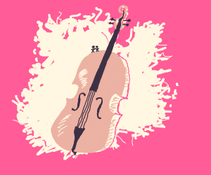 two tiny people stand on a cello