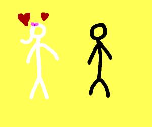 white stick woman loves black stick man