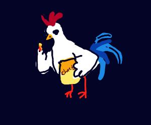 Chicken eating Cheetos