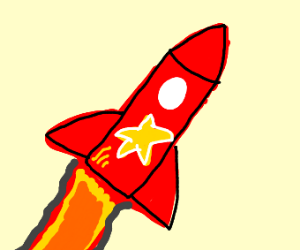 A red rocket with a golden star