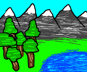mountains in a forest by a lake