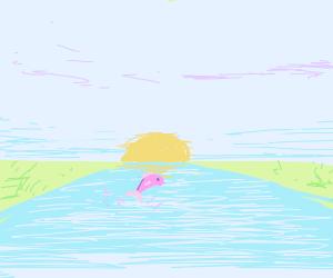 Pink fish enjoying life