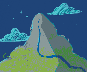 A beautiful view of a mountain at night