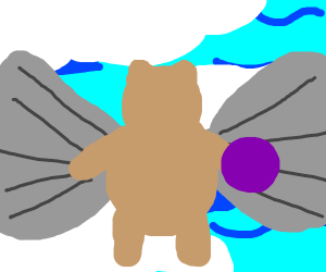 bear with wings plays with a ball