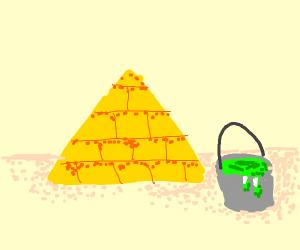 Pyramid and green liquid bucket