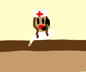 Nurse working front desk