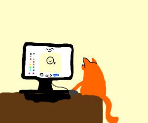 A cat playing drawception