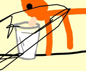 orange cat wants some milk