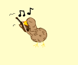 Duck playing a violin