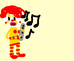 clown playing the flute