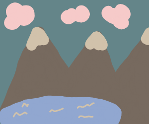 Mountain by a lake