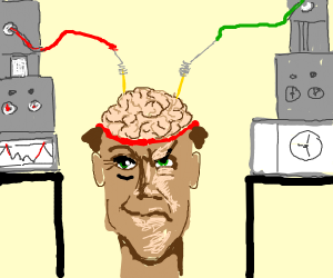Mad doctor experiments on a brain