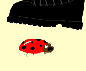 Ladybug screams, about to be stepped on