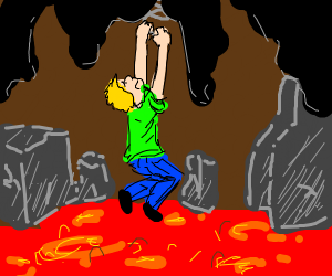 A man hanging on a slinky above lava