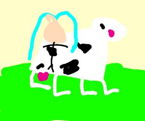 Hatsune Miku riding a blushing cow