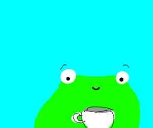 Frog drinks tea