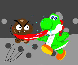Yoshi catches goomba with tongue