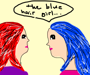 Blue hair girl talks in 3d to red hair guy