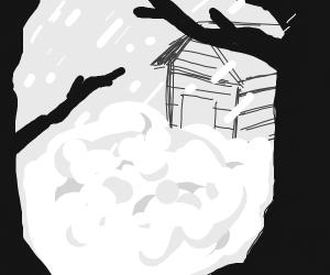 Snowed in cabin in the woods