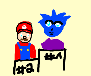 Blue head anime guy is #1, mario #2