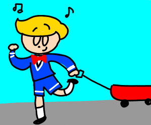 Blond boy in suit in red wagon