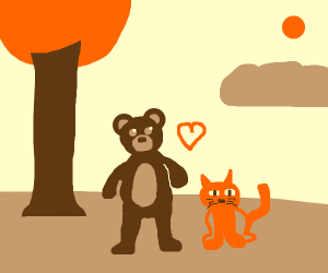 Bear and cat are friends