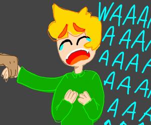 Boy cries waaaaah
