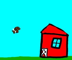 dog flying away from barn
