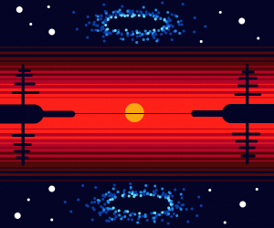 The refcletion of a black hole in the water.
