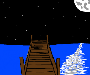 A pier at nighttime