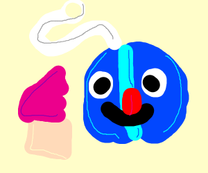 blue yoyo with a face eating a cupcake