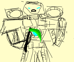 A transformer with a green scythe