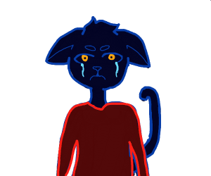Dark Furry with yellow eyes crying