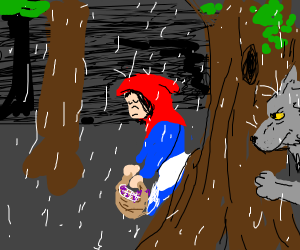 Little Red Riding Hood in the rain
