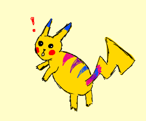 Pink, purple and blue striped pikachu