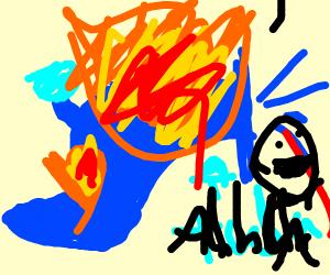 Blue tuba on fire