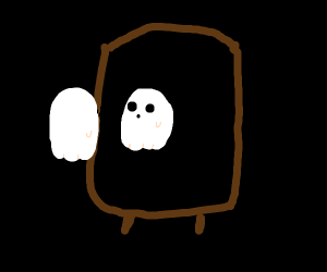 A ghost looking in the mirror