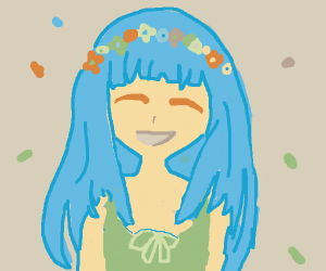 Blue hair girl, green dress, flower crown