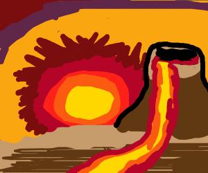 a sun setting under a volcano