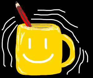 Happy cup with a pencil in him