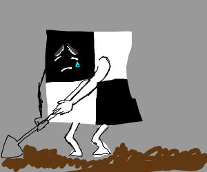 Sad black and white pixel dug