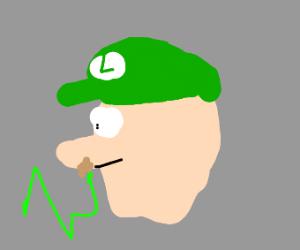 Fuzzy green worm crawls in Luigi's Nose