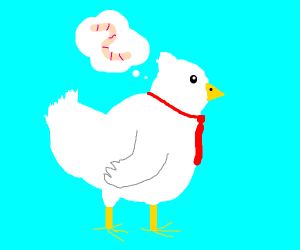 Chicken with tie thinks about worm