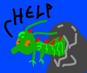 Dragon stuck in rock