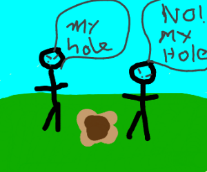 Stickmen fight over hole ownership