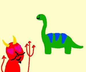 Devil has a crush on dinosaur