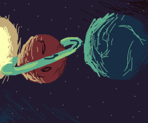 The view of Saturn and Uranus